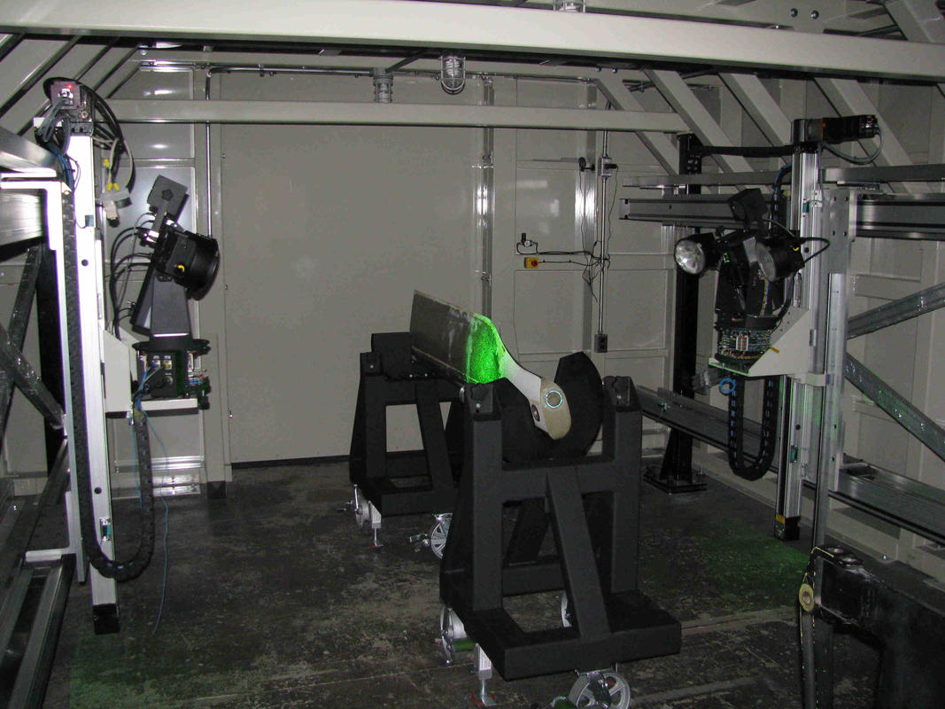 A dual Channel Vacuum Shearography helicopter blade NDT system conducting an inspection